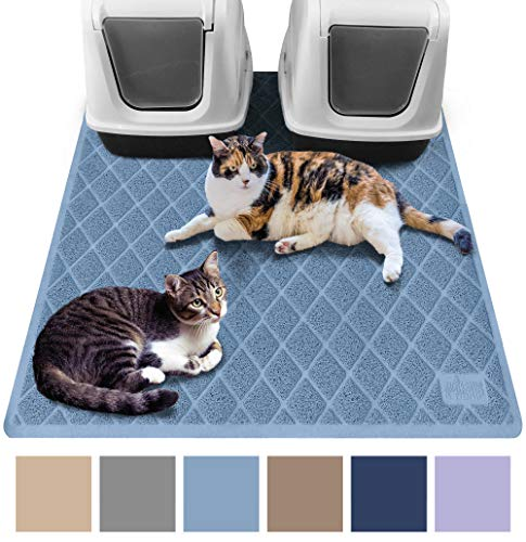 Gorilla Grip Original Premium Durable Multiple Cat Litter Mat (47x35), XL Jumbo, No Phthalate, Water Resistant, Traps Litter from Box and Cats, Scatter Control, Mats Soft on Kitty Paws (Light Blue)