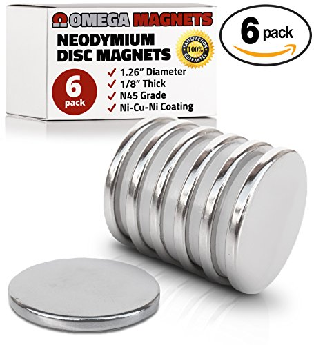 """Strong Neodymium Disc Magnets (6 Pack) - 2x Stronger, 2x Thicker, Powerful, Small, Round, Rare Earth Magnets - N45 Industrial Strength NdFeB Magnet Set for Fridge, DIY, Crafts - 1.26"""" x 1/8"""