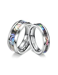 TIANYI Tungsten Couple Ring with Abalone Shell Inlay for Men Women Engagement Wedding Rings