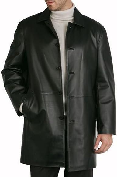 Mens 3//4 Long Real Leather Duffle Jacket Coat Safari Detachable Hood Classic