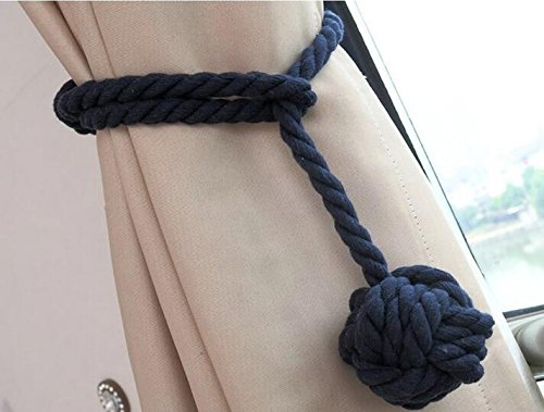 Nanami Chic 2 Pieces Fine Hand Tied Curtain Clip, Buckle Holdback Fabric Drapery Tassels Curtain Tiebacks/Tassel Window Cotton Rope Tie Ball Back Accessories (Navy blue) by Nanami Chic