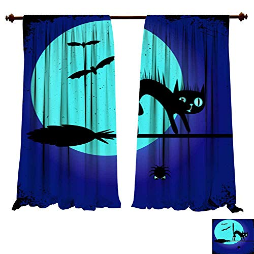 DragonBuildingMaterials Panels Sun Blocking Curtains A Halloween Party Poster with a Black cat on a Witch s Broom Editable Banner Design Template Thermal -