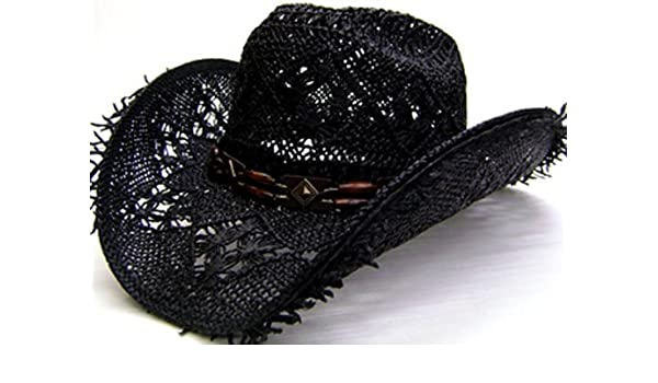 Modestone Unisex Cool Summery Straw Hat Fuzzy Straw Fringe Black Tan at  Amazon Men s Clothing store  4a84dbaf0599