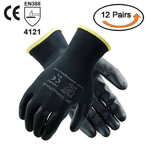 TARANTULA Pack of 12 Pairs Nylon Precision Protective Safety Work Gloves, 13 Gauge Black Polyester Shell with Black PU Coated on Palm and Fingers, 12 Pair Per Pack ()