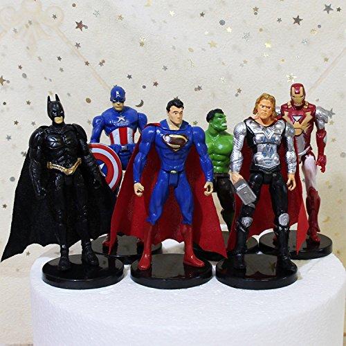 Astra Gourmet 6 PCS The Avengers Figurine Cake Topper, Hulk Captain America Iron Man Thor Batman Superman Party Favor Toys by Astra Gourmet (Image #1)