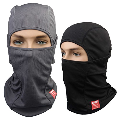 Dimples Excel Balaclava Motorcycle Tactical Skiing Face Mask [2 PACK] (Black + Grey)