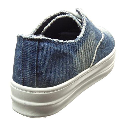 Angkorly - Zapatillas de Moda Deportivos zapatillas de plataforma mujer Talón tacón plano 3.5 CM - Azul