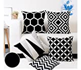 Modern Homes Black and White Throw Pillow Covers 16x16 inches ; 100% Cotton cushion cases for Couch, Bed; Black and White Cushion Covers 16x16 (Set of 5)
