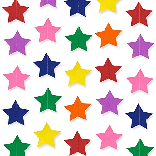 Cieovo Colourful Star Paper Garland Hanging Decorations for Wedding Birthday Baby Shower Party Nursery Baby Girls Bedroom, Large Stars, Rainbow 2 Pack