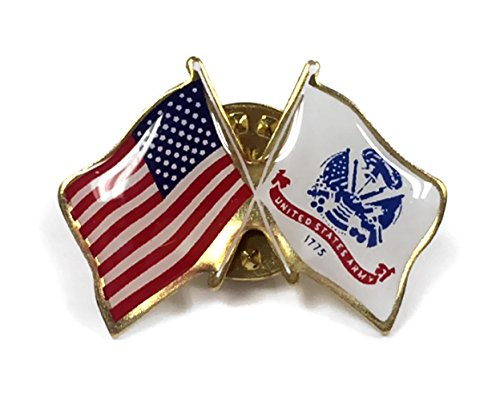 US Army Lapel Pin Crossed with American Flag, Double Waving, Made in USA ()