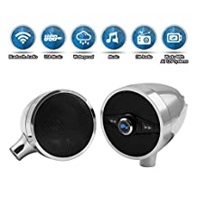 LEXIN S3 3'' Motorcycle Audio Systems with FM Radio, Motorcycle Bluetooth Speaker Fits 1'' to 1.25'' Handlebar, Chorme