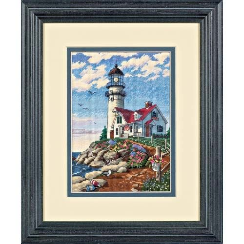 Dimensions Gold Collection Counted Cross Stitch Kit, Beacon at Rocky Point, 18 Count White Aida, 5'' x 7'' ()