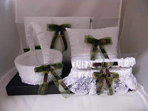 Wedding Reception Camo deer hunter 6 psc Guest Book Pillow Basket (2) Garters - Custom Wedding Flower Girl Basket
