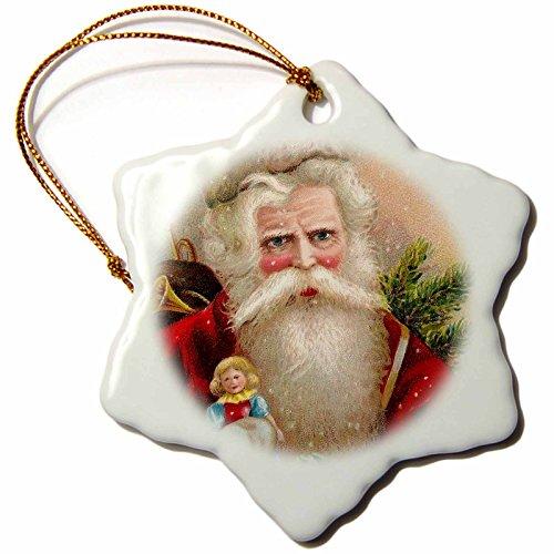 Santa Doll Claus Vintage - 3dRose ORN_171459_1 Vintage Santa Claus with Doll Snowflake Ornament, Porcelain, 3-Inch