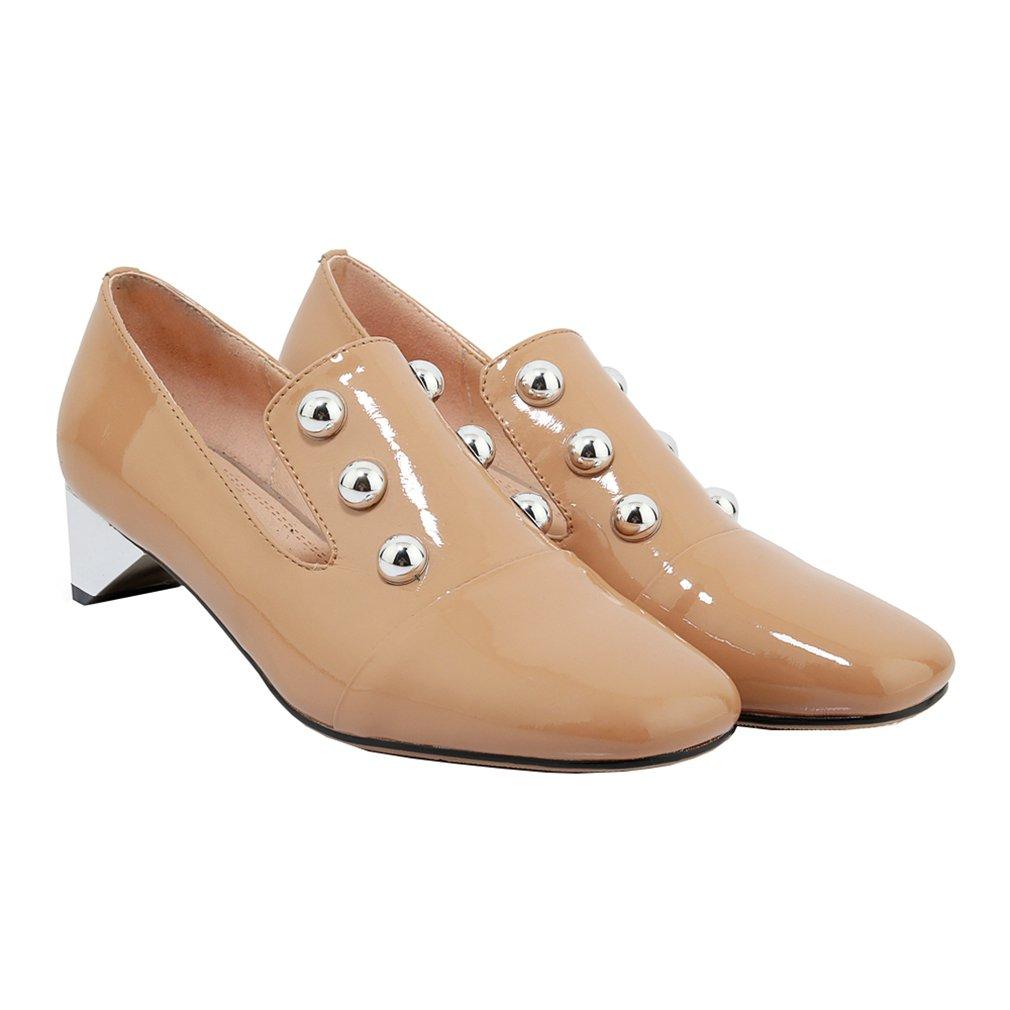 Vaneel Mujer Vadxst Tacón Embudo 4CM Cuero Ponerse Zapatos de Tacón Zapatos 35 EU|Beige