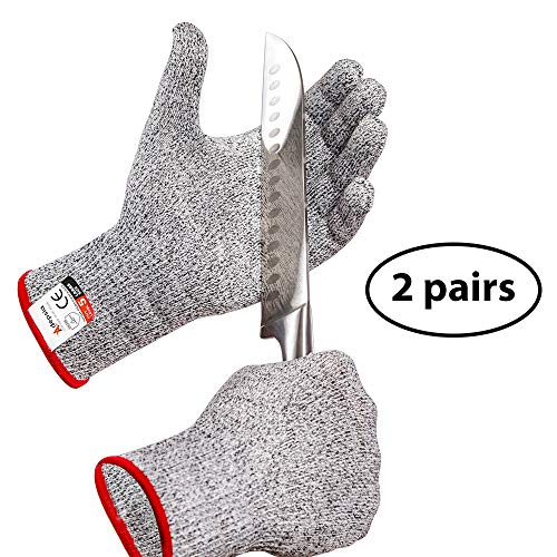 - Adepsia Cut Resistant Gloves - 2 PAIRS FDA Approved for Kitchen Work! Level 5 Protection for Hand while Cooking or Carving Food and Shucking Oysters or Cutting Fish with a Fillet Knife - Large Size