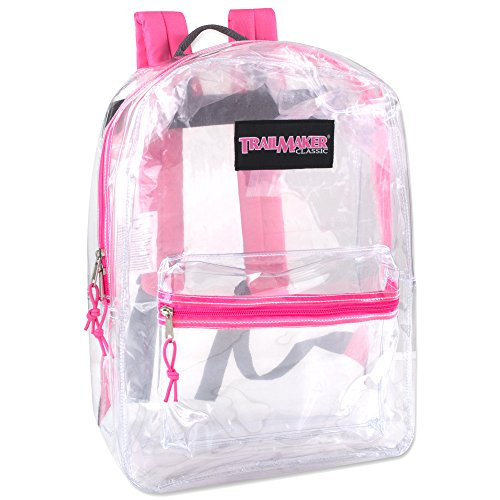 Clear Backpack With Reinforced Straps For School, Security, & Sporting Events (Pink)