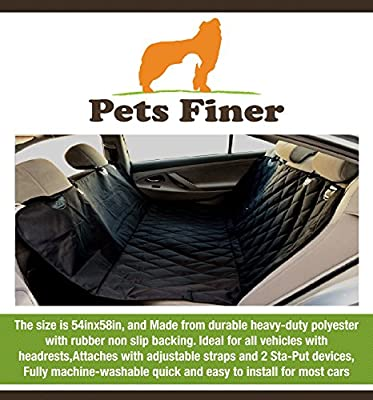 Pets Finer Dog Seat Cover - Nonslip Dog Seat Covers for Dogs - Secure Pet Seat Cover Protects the Upholstery in Cars, Trucks and Suvs - Universal Auto Seat Cover for Pets Compatible with Any Vehicle That Has Headrests - Lifetime Warranty