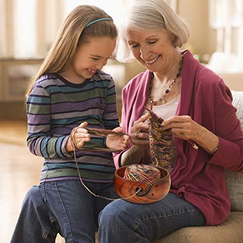 Thinktoo Wooden Yarn Bowl Holder Rosewood Knitting Bowl with Holes Storage Crochet Yarn Big Sale