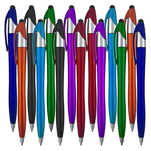 Stylus Pens - 2 in 1 Touch Screen & Writing Pen, Sensitive Stylus Tip - For Your iPad, iPhone, Nook, Samsung Galaxy & More - Assorted Colors, 14 pack (Difference Between Nook Color And Nook Tablet)