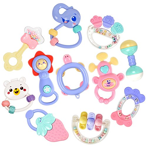 11pcs Baby Rattles Teethers Infant Toys, Grab Toys, Musical Toys, Shaking Bell Rattle Set with Storage Box, BPA Free Toys for Infant, Newborn, Babies, Toddler (8 Rattles Teether Set + (Newborn Toy Box)