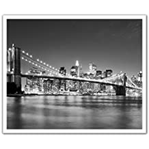 J.P. London Peel and Stick Removable Wall Decal Sticker Mural, New York City Skyline Black and White, 24 by 19.75-Inch