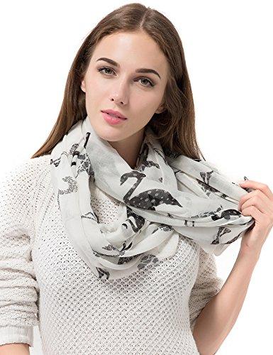 Dimore Women Lightweight Print Voile Fashion Shawl Scarves-Chiffon Scarf Wrap Black Bird