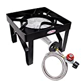 #7: GAS ONE 200,000 BTU Square Heavy- Duty Single Burner Outdoor Stove Propane Gas Cooker with Adjustable 0-20PSI Regulator and Steel Braided Hose Perfect for Home Brewing, Turkey Fry, Maple Syrup Prep