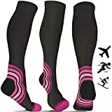 Compression Socks for Women & Men (20-30 mmHg) Best for Flight Travel - Running - Athletics - Nurses - Shin Splints - Pregnancy - Blood Circulation - Skiing - Pink L/XL