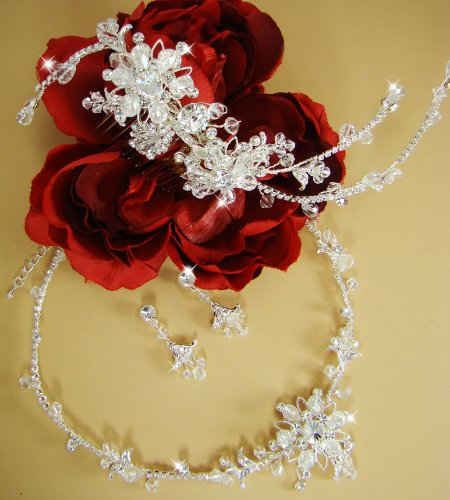 Danna Swarovski Crystal Couture Wedding Bridal Tiara & Jewelry Set