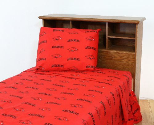 College Covers NCAA Arkansas Razorbacks Printed Sheet Set, Twin, Red ()