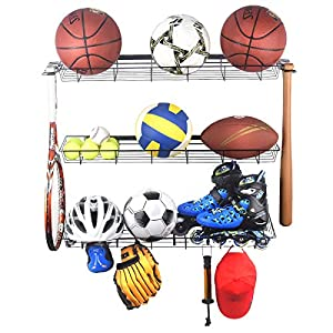 Kinghouse Sports Equipment Storage Rack, Sports Ball Storage Rack with 3 Baskets and 4 Hooks, Ball Rack for Garage, Garage Ball Storage, Sports Gear Storage, Black, Steel, Wall Mount