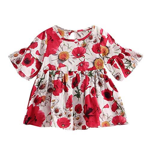 QQ1980s Toddler Baby Girls Dress Floral Print Ruffle