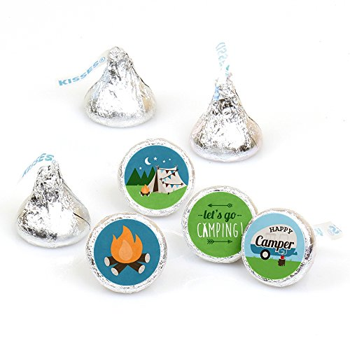 Happy Camper - Camping Baby Shower or Birthday Party Round Candy Sticker Favors - Labels Fit Hersheys Kisses (1 Sheet of 108)