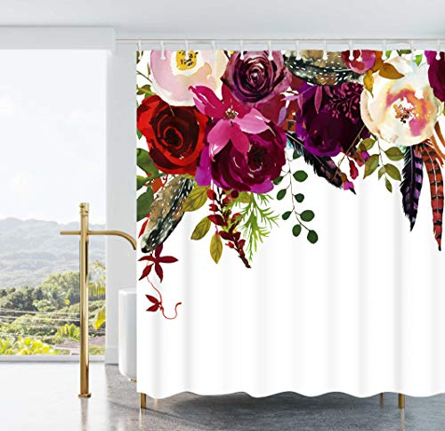 Ao blare Floral Shower Curtain, Colorful Vintage Exotic Summer Flowers Botanical Polyester Fabric Shower Curtain with Hooks 72X72 Inches (Shower Exotic Curtains)