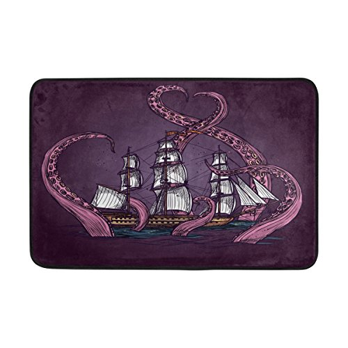 ALAZA 23.6x15.7 inch Non-Slip Polyester Doormat Octopus Kraken Attacking Sailboat Purple Washable Entrance Rug for Inside Floor Living Room Toilet Patio Garage (A Sailboat Inside)