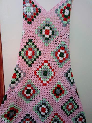 - Handmade Crochet Pink Granny Squares Dress Patchwork Gypsy Boho Hippie Vintage Festival