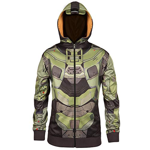 JINX Halo Men's Master Chief Mjolnir Premium Zip-Up Hoodie, Multicolor,