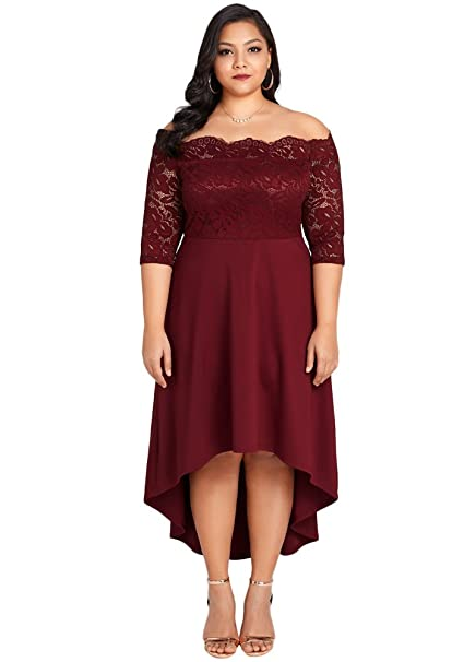 2ecd8ea098543 Romacci Women Off Shoulder Party Dress Plus Size Lace Scalloped Nightclub  Vestidos Dress