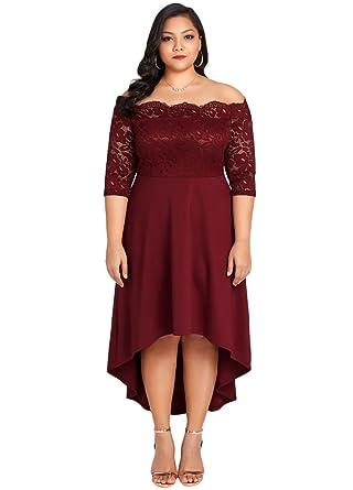 Romacci Women Off Shoulder Party Dress Plus Size Lace Scalloped Nightclub Vestidos Dress