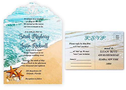 Starfish Wedding Invitation Beach Invites Set of 50