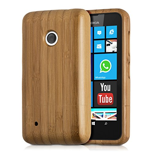 kwmobile® Natural bamboo case for the Nokia Lumia 530 in Light brown