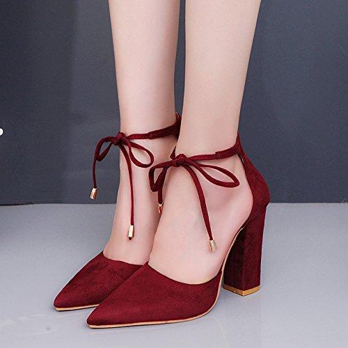 Talons Rouge Rétro pour 39 Hauts Chaussures Style vin Femmes ZIwqqSA