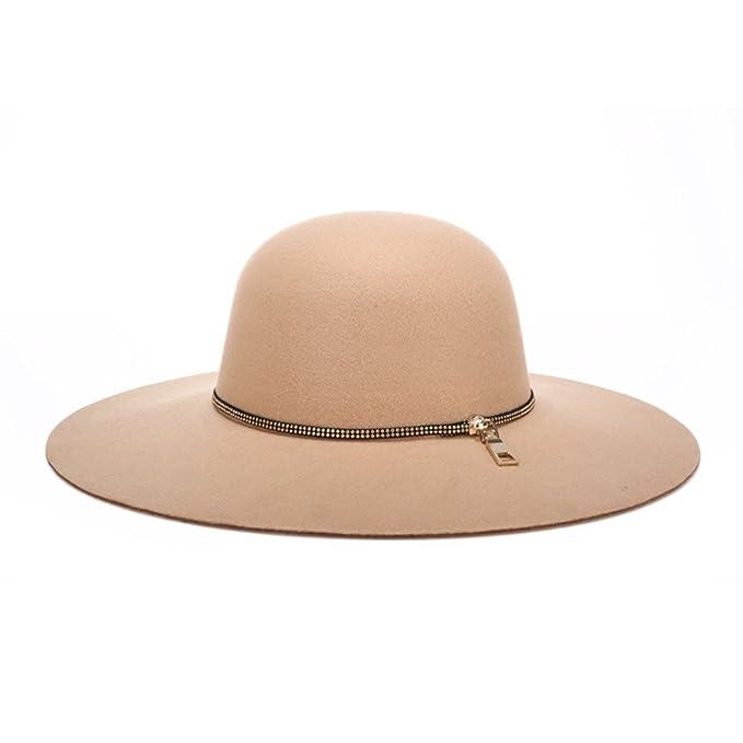 005f4f9fb7b Women Wool Vintage Wide Brim Hard Felt Fedora Panama Hat   Amazon.ca   Clothing   Accessories