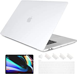 Dongke MacBook Pro 13 inch Case 2020 Release Model A2251 A2289, Plastic Hard Shell Case & Keyboard Cover Only Compatible with MacBook Pro 13 2020 Touch Bar Fits Touch ID, Matte Clear