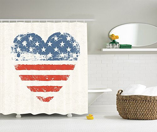 Americana For Home Decorations By Ambesonne, Patriotic American USA Flag  Heart Shaped Stars And Stripes Antiqued Inspirational Bathroom Polyester  Fabric ...