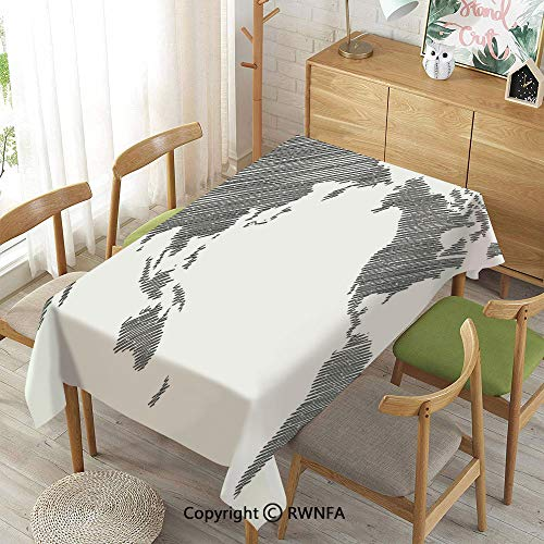 Homenon 100% Polyester Tablecloths for Rectangle Tables,Sketchy Striped Continents Cartography Geography Countries Worldwide Art Decorative,Indoor Outdoor Camping Picnic,Charcoal Grey White,52