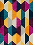 """Well Woven Elise Shapes Fuchsia Purple Blue Yellow Orange Modern Geometric Hand Carved 8x10 (7'10"""" x 9'10"""") Area Rug Easy to Clean Stain & Fade Resistant Thick Soft Plush"""