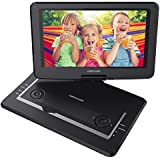 DBPOWER 14 Portable DVD Player with Rechargeable Battery, Swivel Screen, Supports SD Card and USB, with 1.8M Car Charger and 1.8M Power Adaptor (Black)