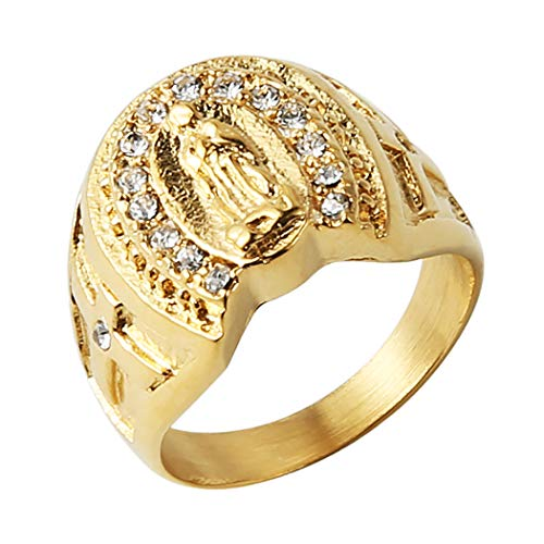 HZMAN 18k Gold Plated Stainless Steel Guadalupe Virgin Mary CZ Horseshoe Ring (5)